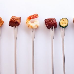 Skewers with meat and Vegetable. 1. Chicken 2. Pork 3. Shrimp 4. Beef 5. Zucchini 6. Mushrooms
