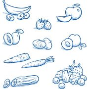Set of different fruits and vegetables, e.g, for baby food. With, banana, strawberry, apple, peach, plum, carrot, zucchini, potato. Hand drawn cartoon vector illustration.
