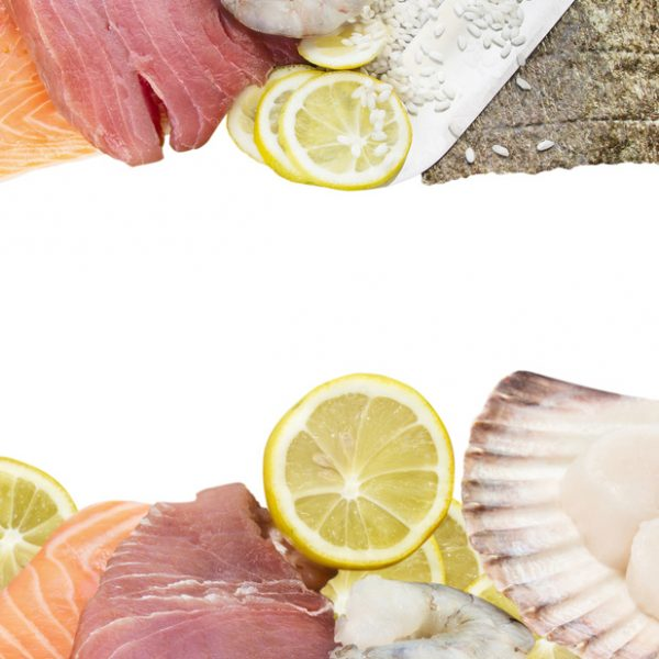 Fresh seafood mix, tuna, salmon, Scallops, ingredients, isolated